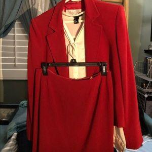 Max Mara Red Blazer and Skirt Suit
